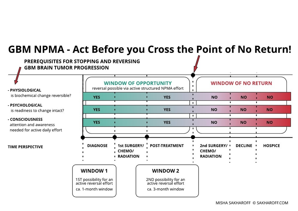 GBM glioblastoma - act before you cross the point of no return